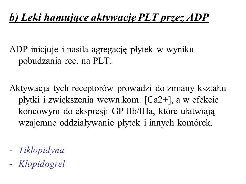 b) Leki hamujące aktywację PLT przez ADP