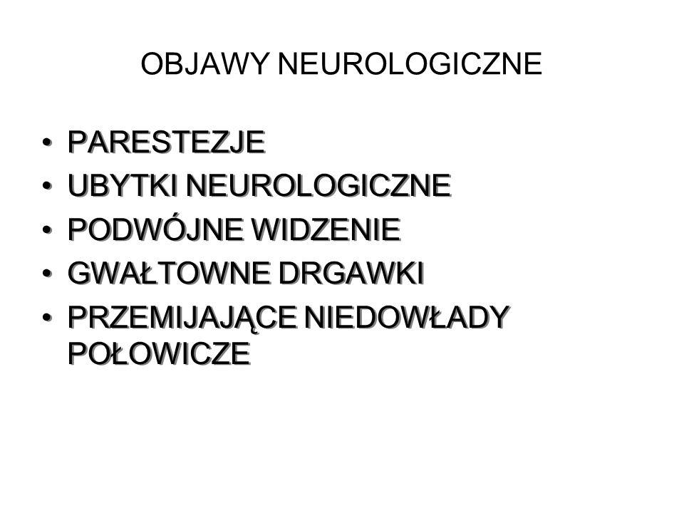 OBJAWY NEUROLOGICZNE PARESTEZJE. UBYTKI NEUROLOGICZNE.