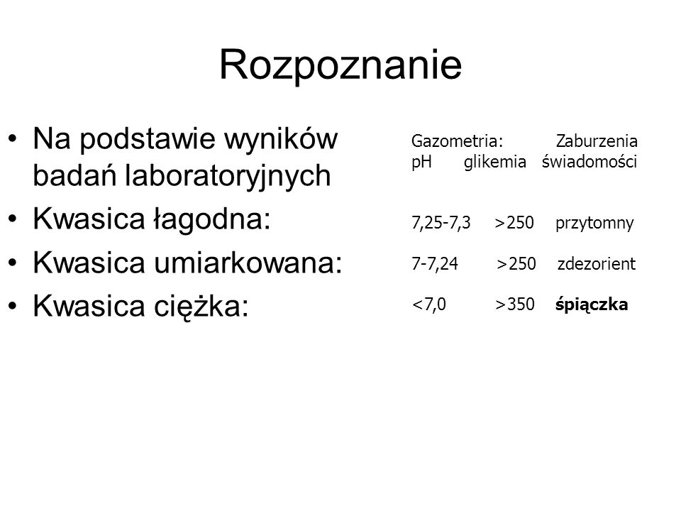 Rozpoznanie Na podstawie wyników badań laboratoryjnych