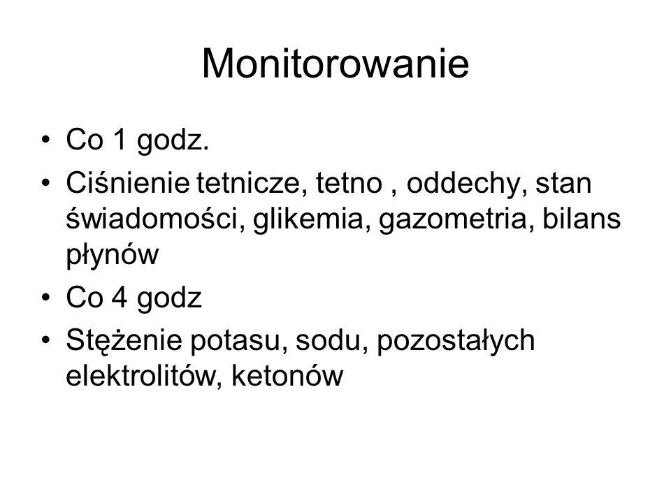 MonitorowanieCo 1 godz. Ciśnienie tetnicze, tetno , oddechy, stan świadomości, glikemia, gazometria, bilans płynów.