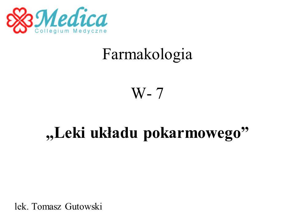 """Farmakologia W- 7 """"Leki układu pokarmowego"""
