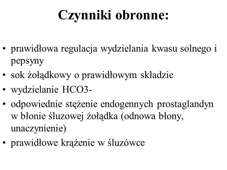 Czynniki obronne: prawidłowa regulacja wydzielania kwasu solnego i pepsyny. sok żołądkowy o prawidłowym składzie.