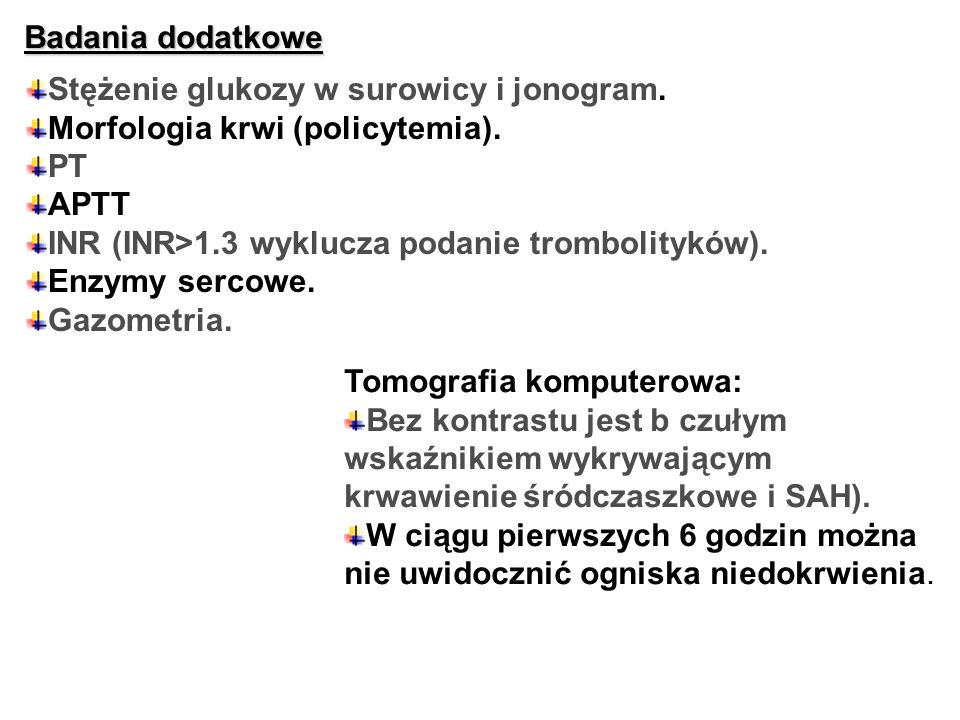 Badania dodatkoweStężenie glukozy w surowicy i jonogram. Morfologia krwi (policytemia). PT. APTT. INR (INR>1.3 wyklucza podanie trombolityków).