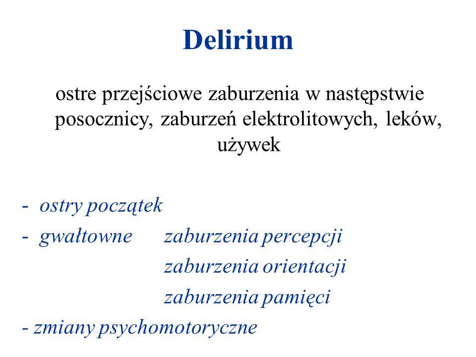 Delirium ostre przejściowe zaburzenia w następstwie posocznicy, zaburzeń elektrolitowych, leków, używek.