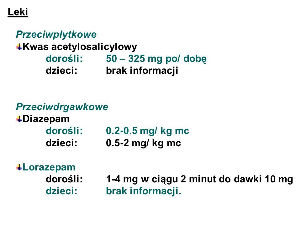 Leki Przeciwpłytkowe. Kwas acetylosalicylowy. dorośli: 50 – 325 mg po/ dobę. dzieci: brak informacji.
