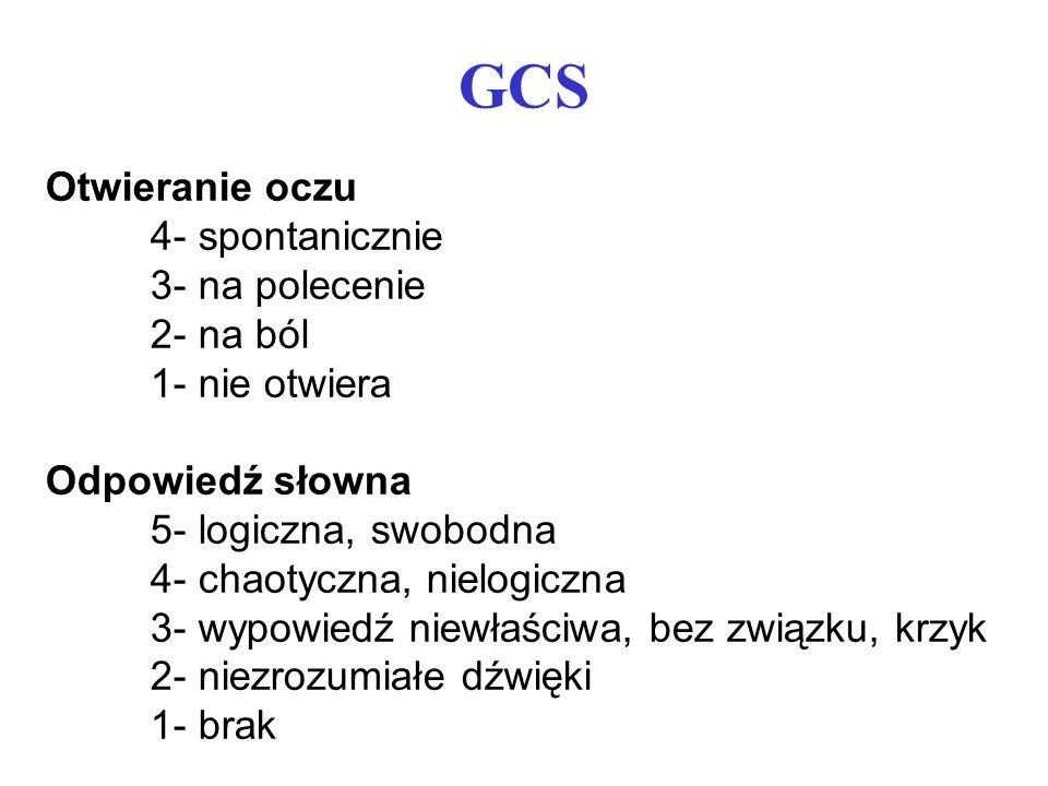 GCS Otwieranie oczu 4- spontanicznie 3- na polecenie 2- na ból