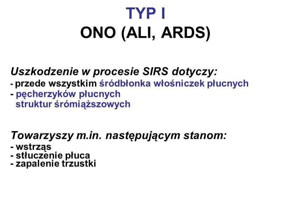 TYP I ONO (ALI, ARDS) Uszkodzenie w procesie SIRS dotyczy:
