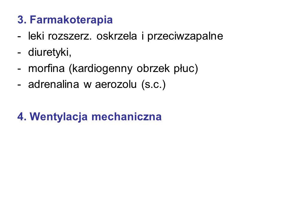 3. Farmakoterapia leki rozszerz. oskrzela i przeciwzapalne. diuretyki, morfina (kardiogenny obrzek płuc)