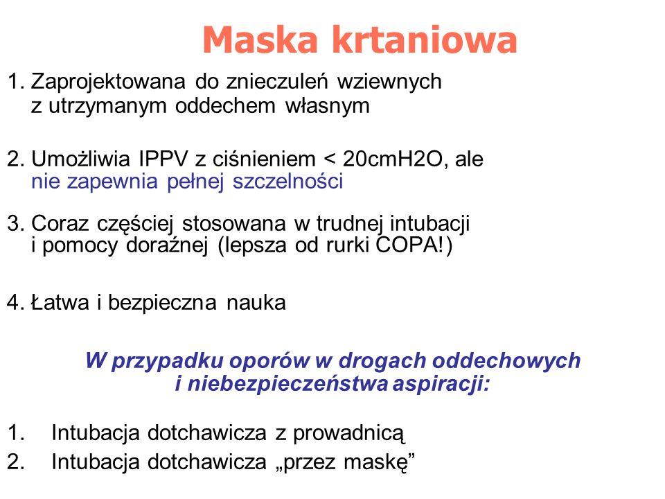 Maska krtaniowa 1. Zaprojektowana do znieczuleń wziewnych