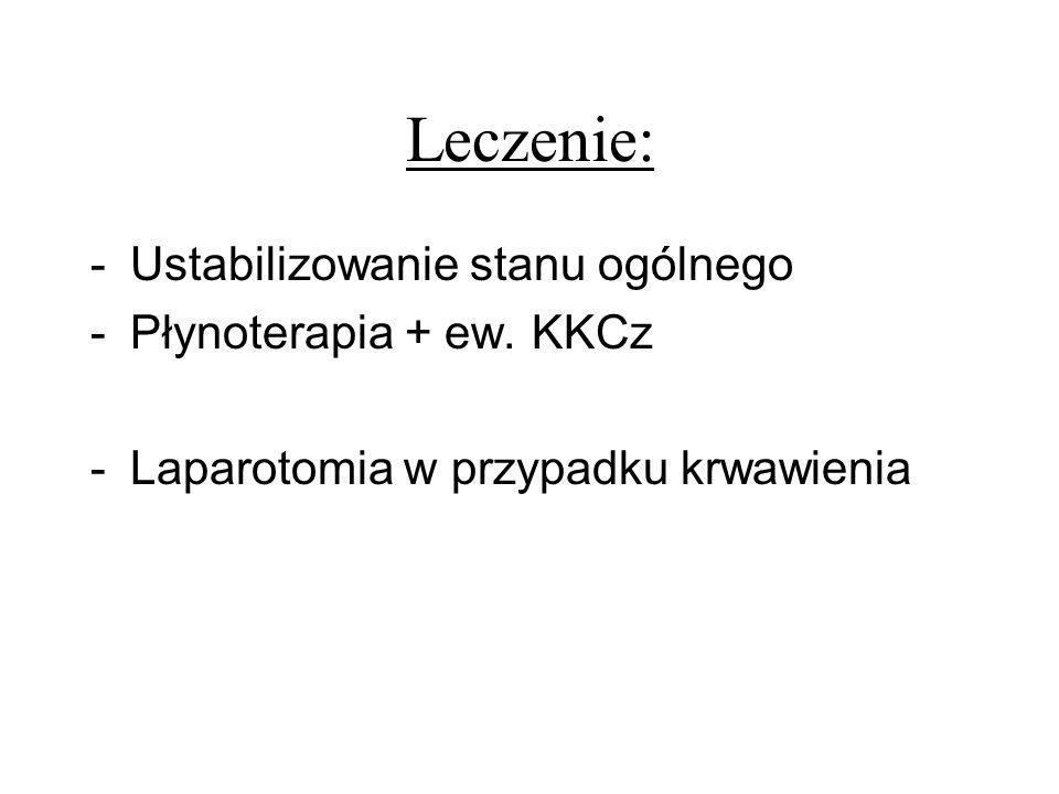 Leczenie: Ustabilizowanie stanu ogólnego Płynoterapia + ew. KKCz