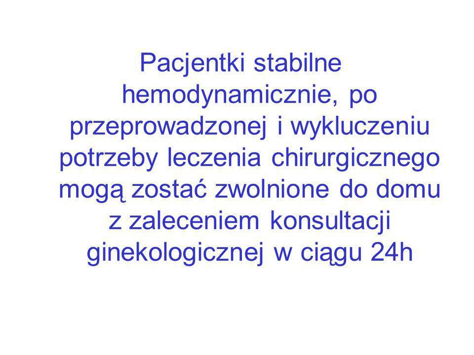 Pacjentki stabilne hemodynamicznie, po przeprowadzonej i wykluczeniu potrzeby leczenia chirurgicznego mogą zostać zwolnione do domu z zaleceniem konsultacji ginekologicznej w ciągu 24h
