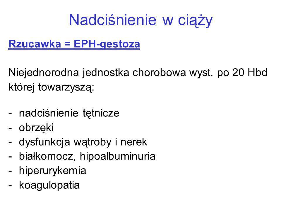 Nadciśnienie w ciąży Rzucawka = EPH-gestoza