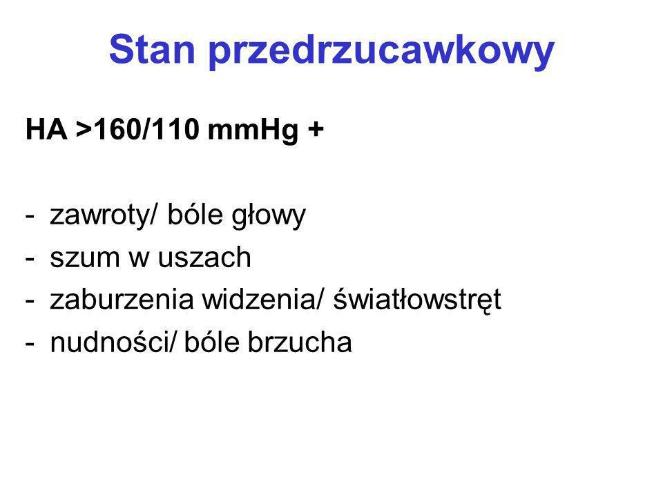 Stan przedrzucawkowy HA >160/110 mmHg + zawroty/ bóle głowy
