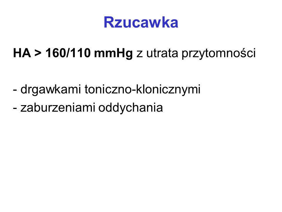 Rzucawka HA > 160/110 mmHg z utrata przytomności