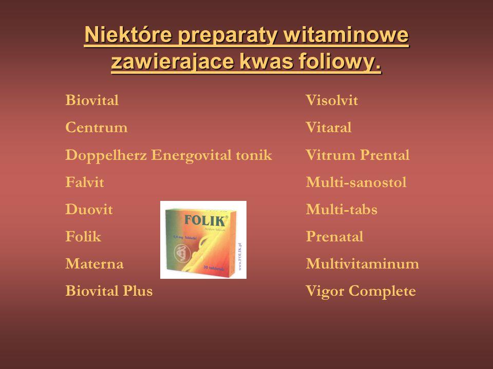 Niektóre preparaty witaminowe zawierajace kwas foliowy.