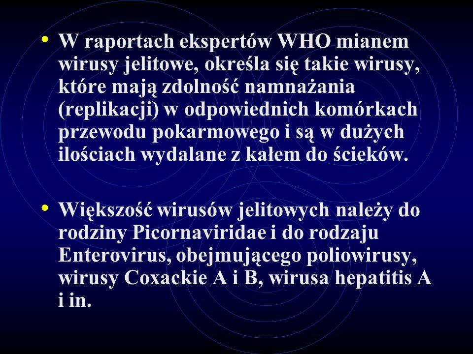 W raportach ekspertów WHO mianem wirusy jelitowe, określa się takie wirusy, które mają zdolność namnażania (replikacji) w odpowiednich komórkach przewodu pokarmowego i są w dużych ilościach wydalane z kałem do ścieków.
