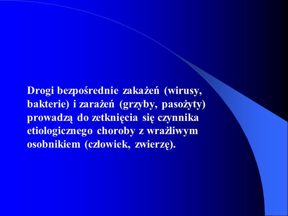 Drogi bezpośrednie zakażeń (wirusy, bakterie) i zarażeń (grzyby, pasożyty) prowadzą do zetknięcia się czynnika etiologicznego choroby z wrażliwym osobnikiem (człowiek, zwierzę).