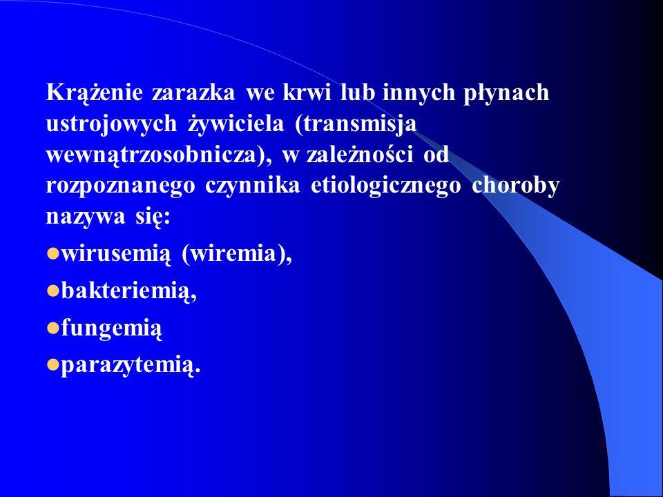 Krążenie zarazka we krwi lub innych płynach ustrojowych żywiciela (transmisja wewnątrzosobnicza), w zależności od rozpoznanego czynnika etiologicznego choroby nazywa się: