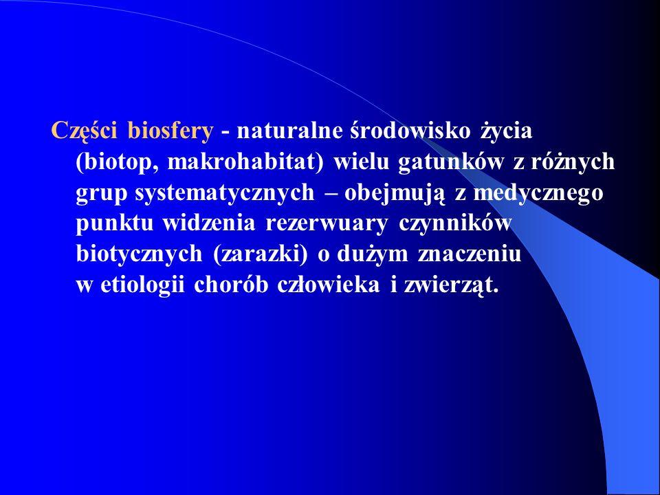Części biosfery - naturalne środowisko życia (biotop, makrohabitat) wielu gatunków z różnych grup systematycznych – obejmują z medycznego punktu widzenia rezerwuary czynników biotycznych (zarazki) o dużym znaczeniu w etiologii chorób człowieka i zwierząt.