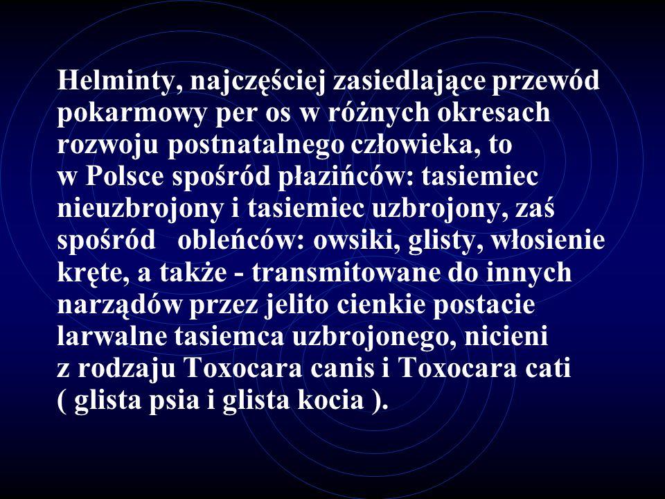 Helminty, najczęściej zasiedlające przewód pokarmowy per os w różnych okresach rozwoju postnatalnego człowieka, to w Polsce spośród płazińców: tasiemiec nieuzbrojony i tasiemiec uzbrojony, zaś spośród obleńców: owsiki, glisty, włosienie kręte, a także - transmitowane do innych narządów przez jelito cienkie postacie larwalne tasiemca uzbrojonego, nicieni z rodzaju Toxocara canis i Toxocara cati ( glista psia i glista kocia ).