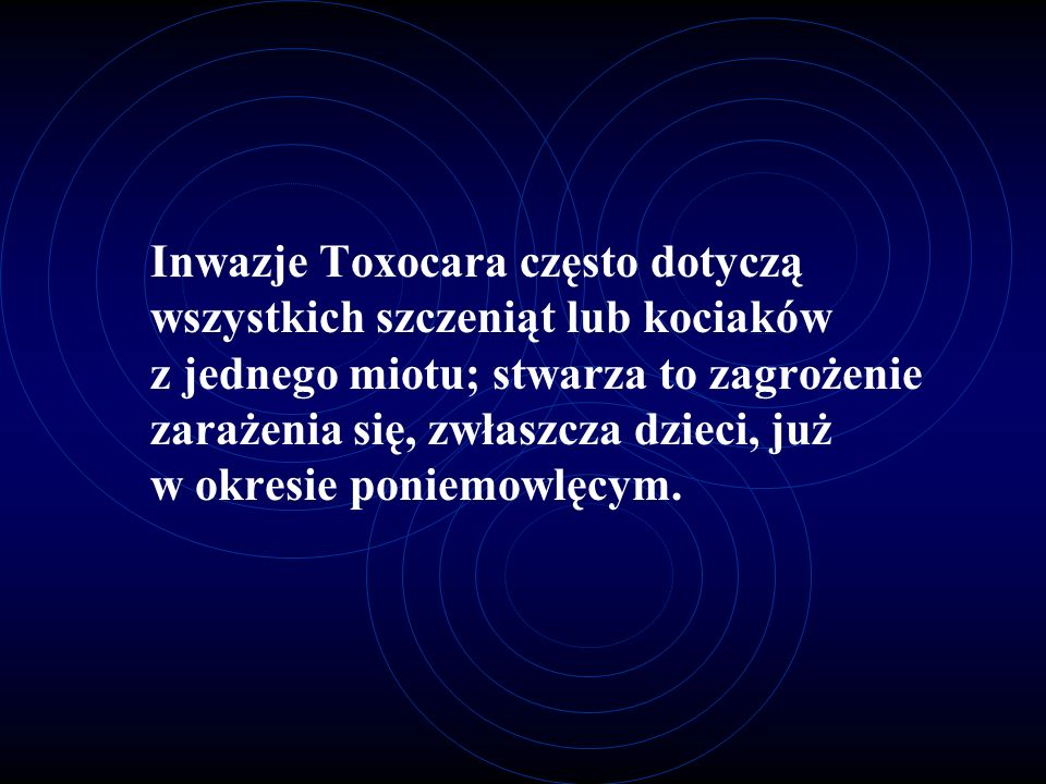 Inwazje Toxocara często dotyczą wszystkich szczeniąt lub kociaków z jednego miotu; stwarza to zagrożenie zarażenia się, zwłaszcza dzieci, już w okresie poniemowlęcym.