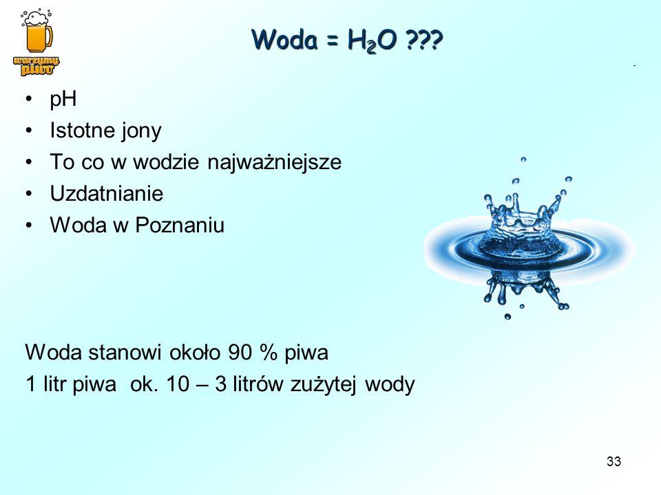 Woda = H2O pH Istotne jony To co w wodzie najważniejsze