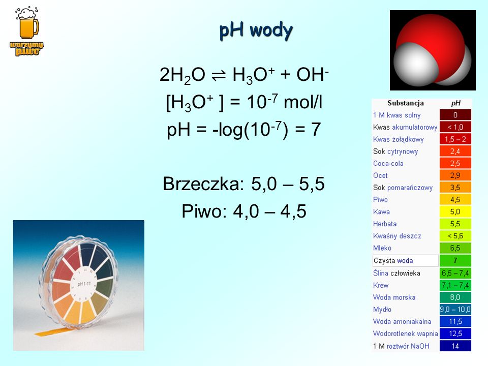 pH wody 2H2O ⇌ H3O+ + OH- [H3O+ ] = 10-7 mol/l. pH = -log(10-7) = 7.