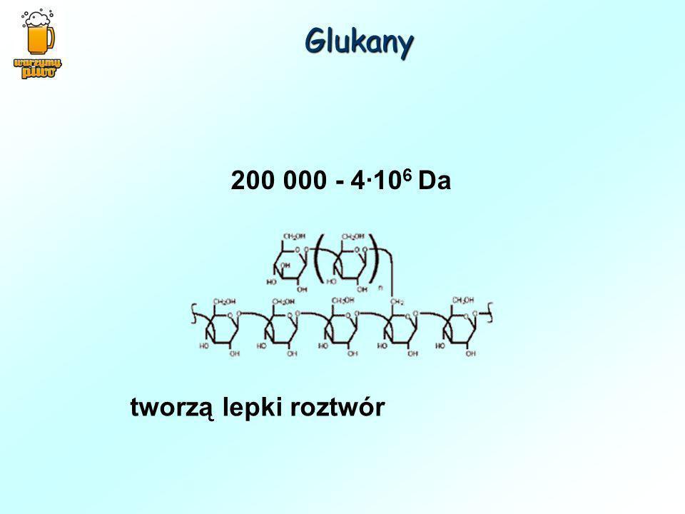 Glukany 200 000 - 4·106 Da tworzą lepki roztwór