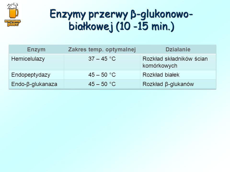 Enzymy przerwy β-glukonowo-białkowej (10 -15 min.)