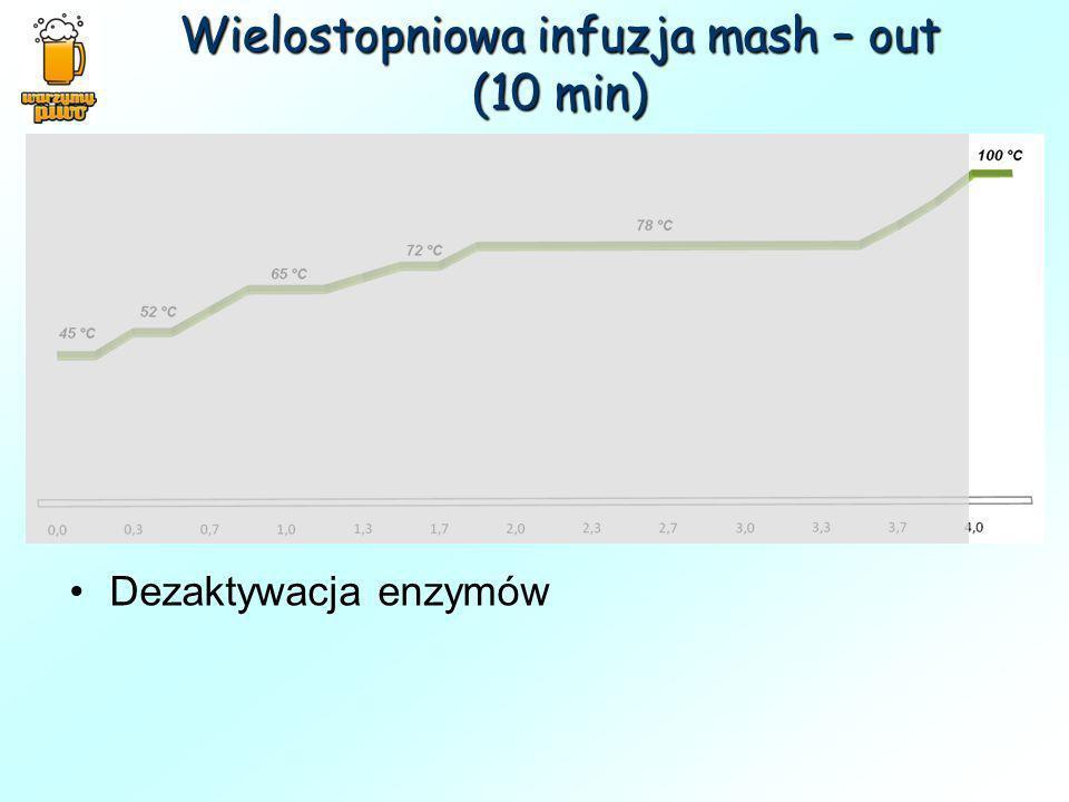 Wielostopniowa infuzja mash – out (10 min)