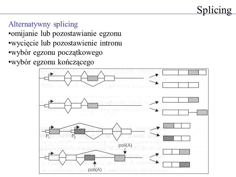 Splicing Alternatywny splicing omijanie lub pozostawianie egzonu