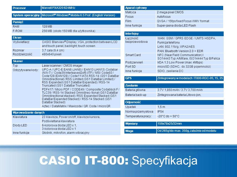 CASIO IT-800: Specyfikacja