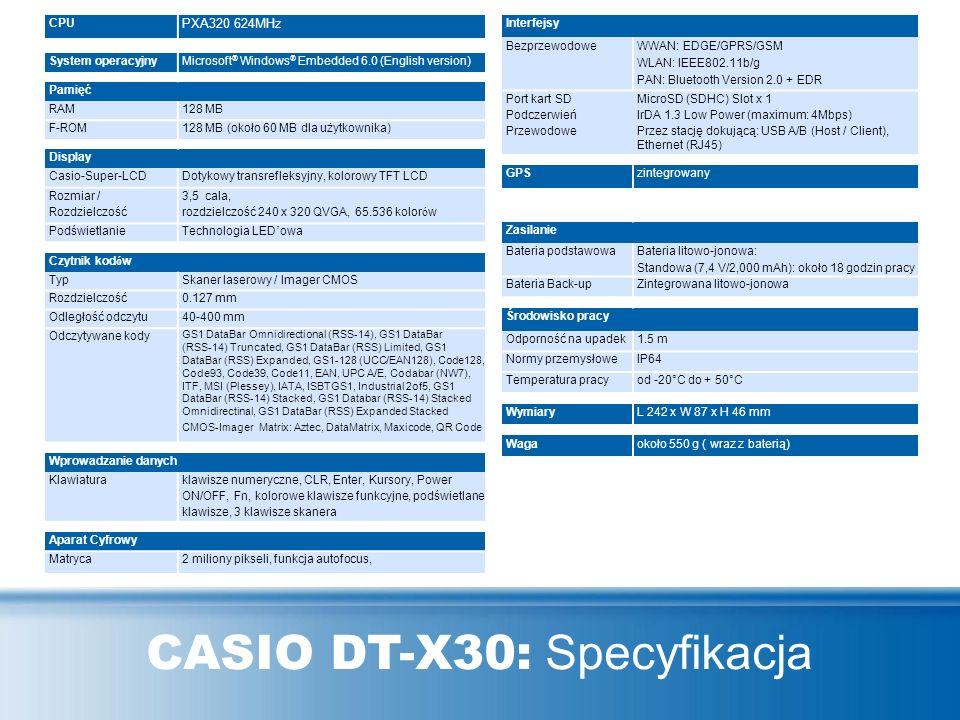 CASIO DT-X30: Specyfikacja