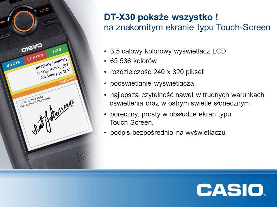 DT-X30 pokaże wszystko ! na znakomitym ekranie typu Touch-Screen