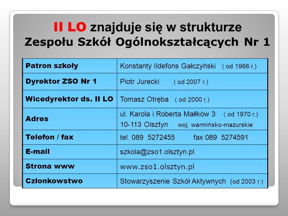 II LO znajduje się w strukturze Zespołu Szkół Ogólnokształcących Nr 1