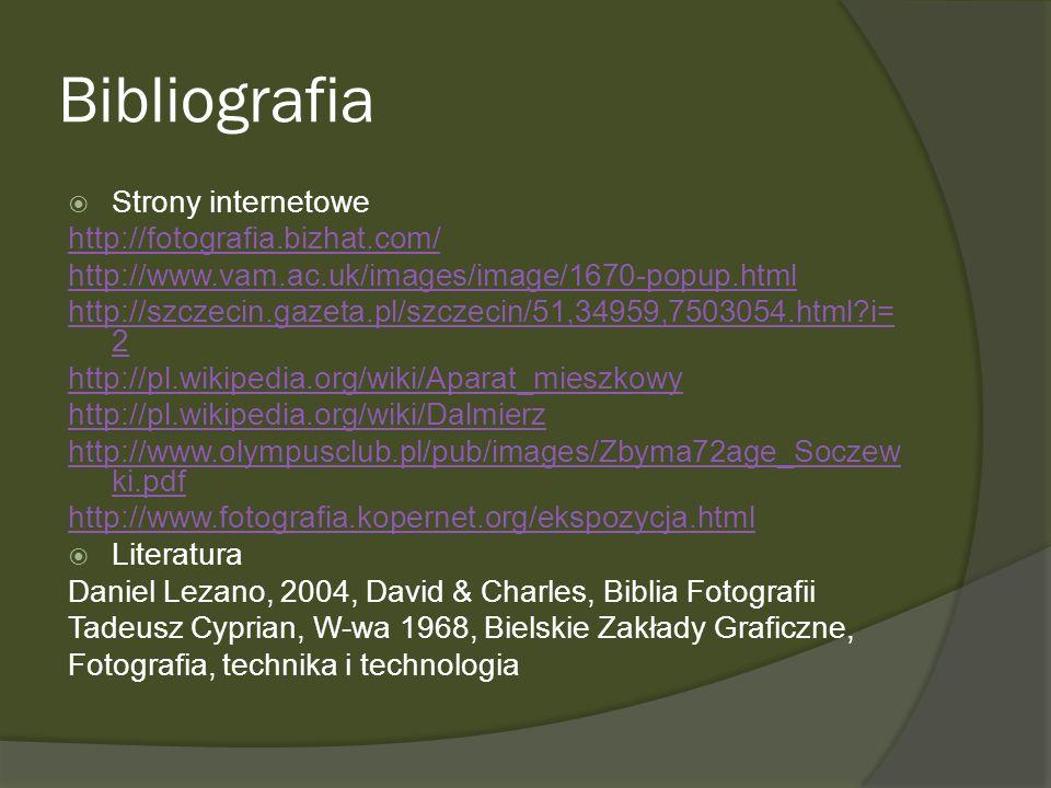 Bibliografia Strony internetowe http://fotografia.bizhat.com/