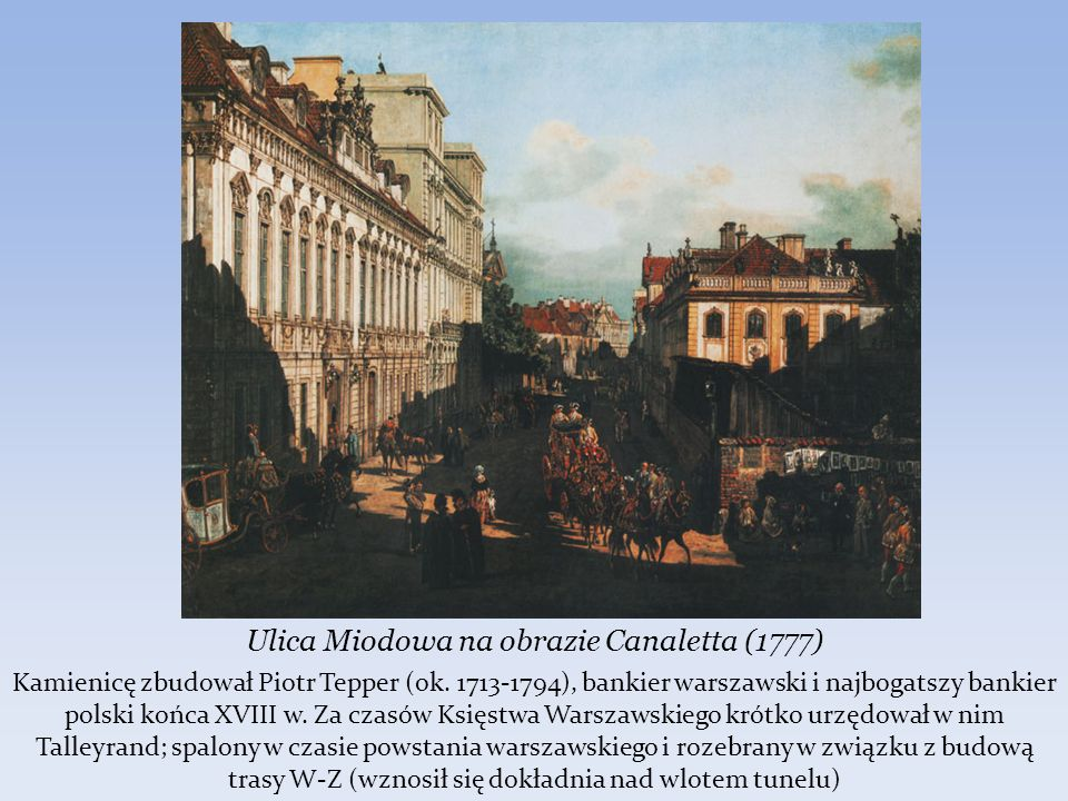 Ulica Miodowa na obrazie Canaletta (1777)