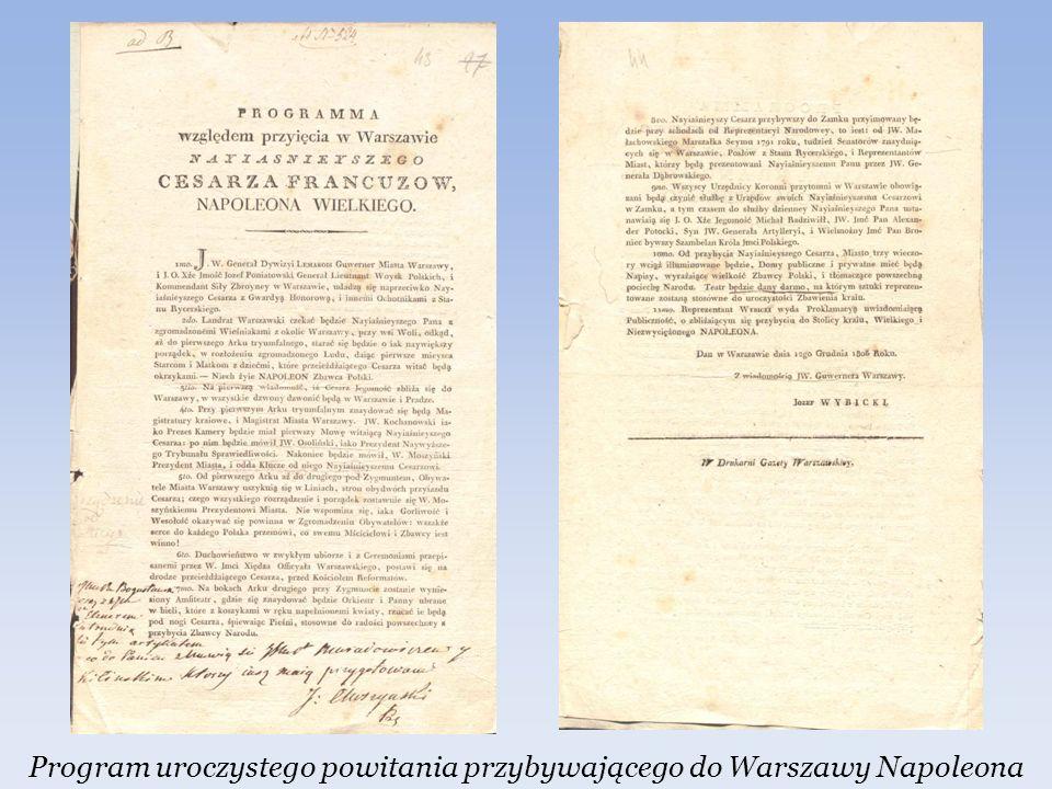 Program uroczystego powitania przybywającego do Warszawy Napoleona