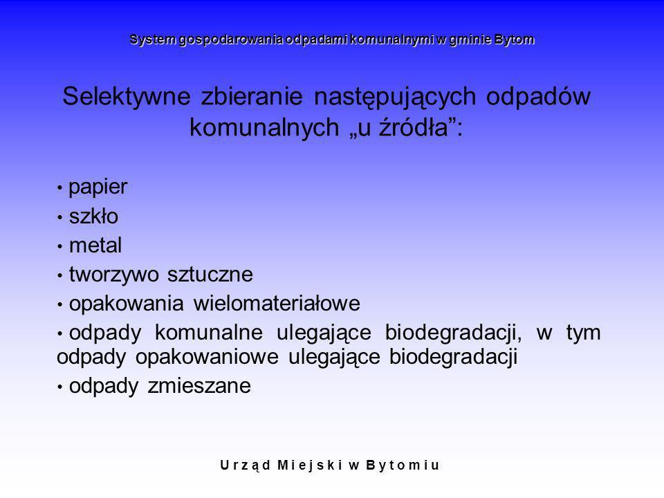 """Selektywne zbieranie następujących odpadów komunalnych """"u źródła :"""