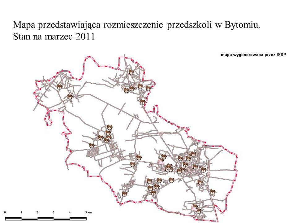 Mapa przedstawiająca rozmieszczenie przedszkoli w Bytomiu