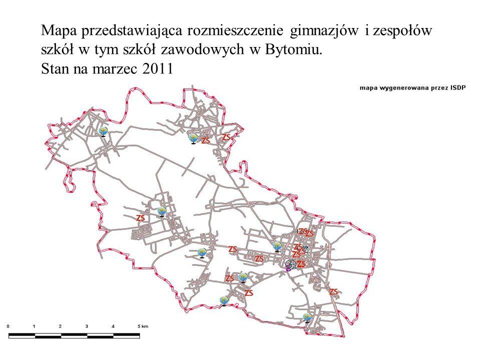 Mapa przedstawiająca rozmieszczenie gimnazjów i zespołów szkół w tym szkół zawodowych w Bytomiu.