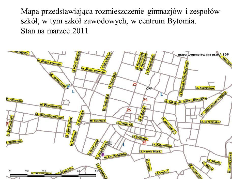 Mapa przedstawiająca rozmieszczenie gimnazjów i zespołów szkół, w tym szkół zawodowych, w centrum Bytomia.