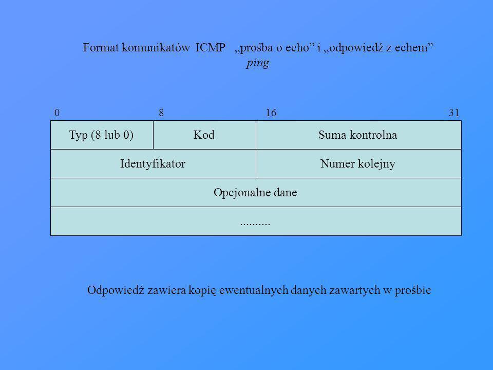 """Format komunikatów ICMP """"prośba o echo i """"odpowiedź z echem"""