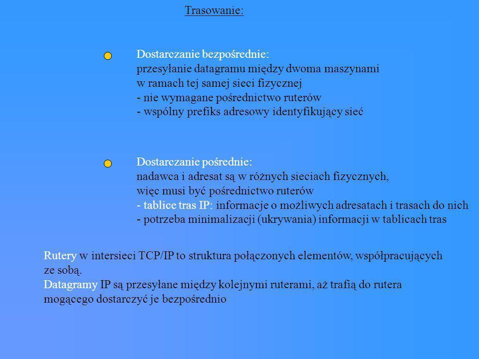 Trasowanie: Dostarczanie bezpośrednie: przesyłanie datagramu między dwoma maszynami. w ramach tej samej sieci fizycznej.