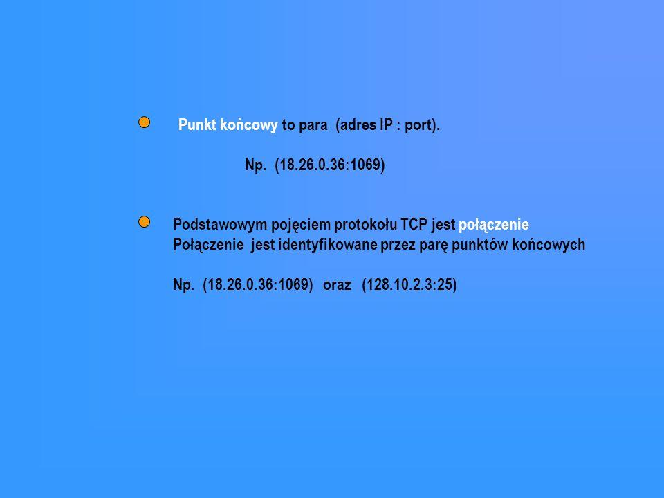 Punkt końcowy to para (adres IP : port).