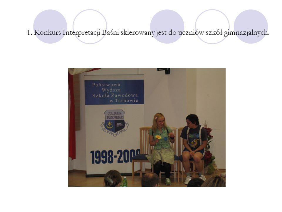 1. Konkurs Interpretacji Baśni skierowany jest do uczniów szkół gimnazjalnych.