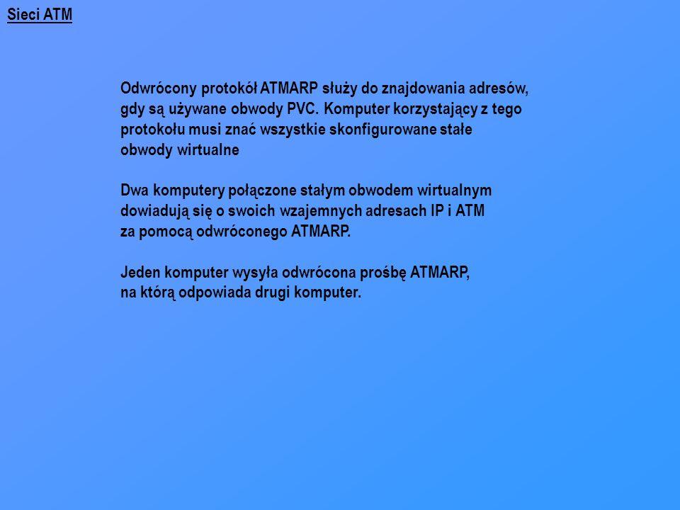 Sieci ATM Odwrócony protokół ATMARP służy do znajdowania adresów, gdy są używane obwody PVC. Komputer korzystający z tego.