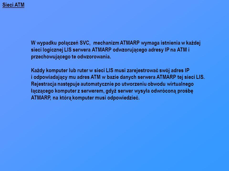 Sieci ATM W wypadku połączeń SVC, mechanizm ATMARP wymaga istnienia w każdej. sieci logicznej LIS serwera ATMARP odwzorującego adresy IP na ATM i.