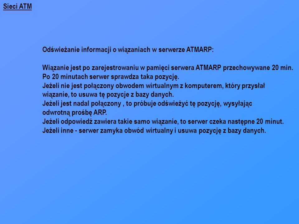 Sieci ATM Odświeżanie informacji o wiązaniach w serwerze ATMARP: Wiązanie jest po zarejestrowaniu w pamięci serwera ATMARP przechowywane 20 min.