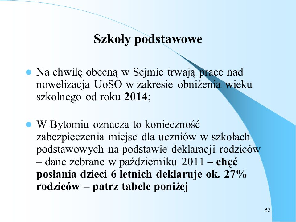 Szkoły podstawoweNa chwilę obecną w Sejmie trwają prace nad nowelizacja UoSO w zakresie obniżenia wieku szkolnego od roku 2014;